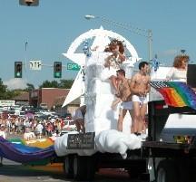 gay boys on pride parade float
