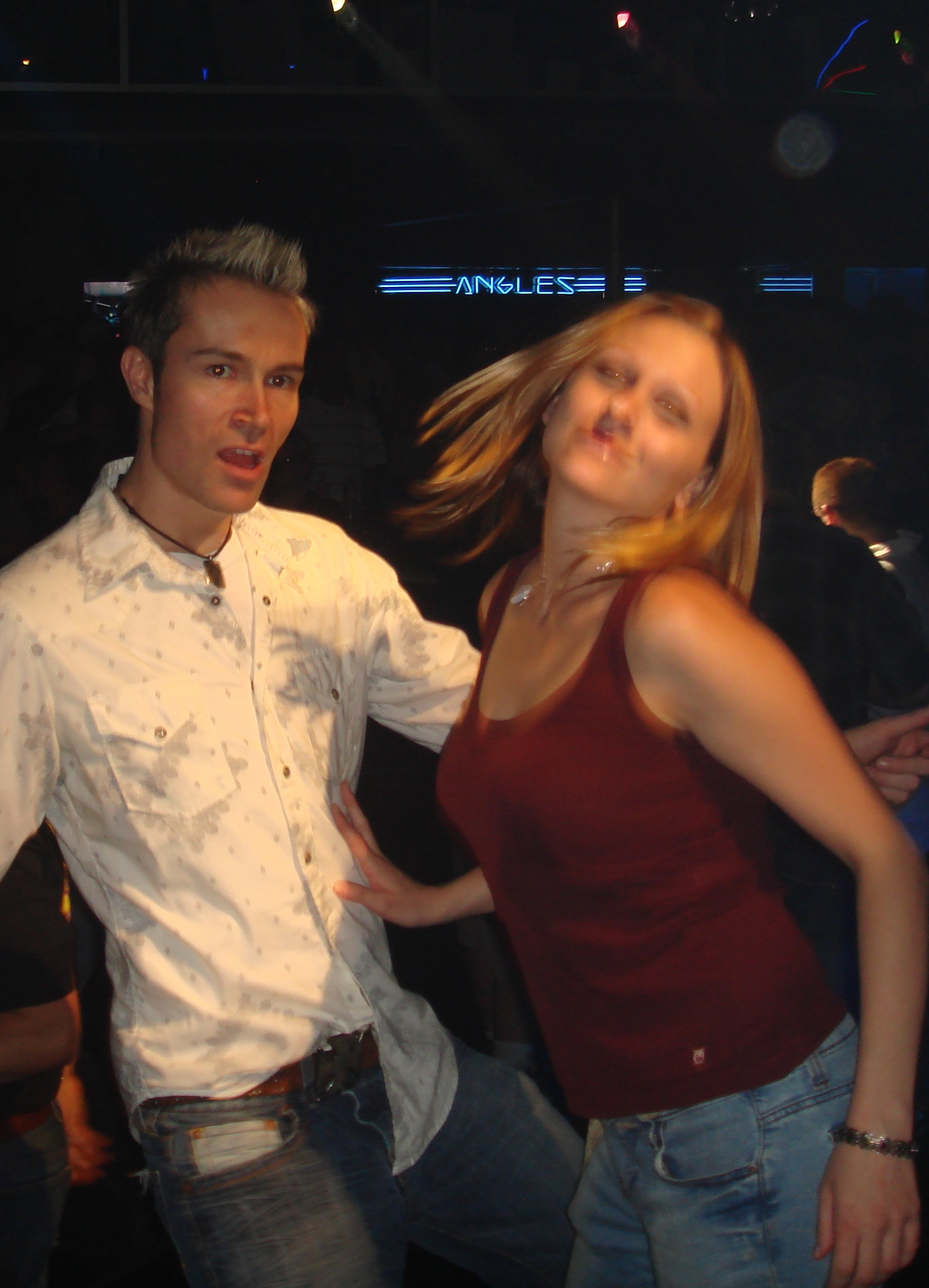 hot girl dancing with boy at gay club